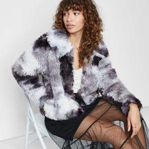 New Tie-Dye Faux Fur Jacket Medium Black & White
